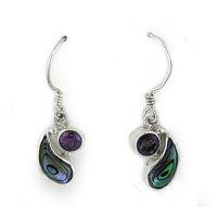 Paua Shell and Amethyst Dangle Earrings