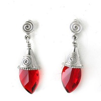Red Opalite Pointed Drop Post Earrings