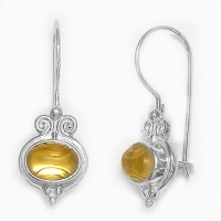 Gold Titanium-backed Etched Quartz Latchback Earrings