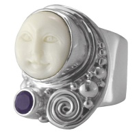 Moon Faced Goddess Ring with Amethyst