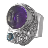 Amethyst Goddess Ring with Blue Topaz