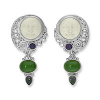 Goddess Clip Earrings with Jade, Mystic Topaz, and Amethyst