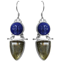 Lapis Goddess Earrings with Labradorite