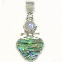 Paua Shell and Rainbow Moonstone Pendant