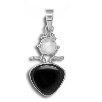 Onyx and Rainbow Moonstone Pendant