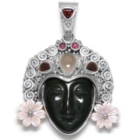 Rainbow Obsidian Goddess Pendant with Pink Mother of Pearl Flowers, Rose Quartz, Garnet & Pink Tourmaline