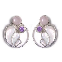 Rose Quartz, Amethyst & Mother Of Pearl Post Earrings