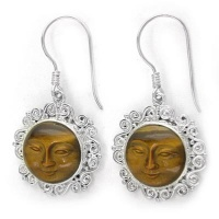 Ornate Sterling Silver Tiger Eye Goddess Earrings