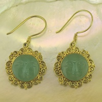 Aventurine Goddess 22k Vermeil Earrings
