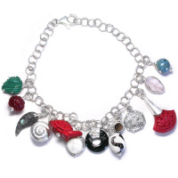 Sterling Silver Malachite, Cinnabar, Mudbead and Shell Charm Bracelet with Multiple Charms