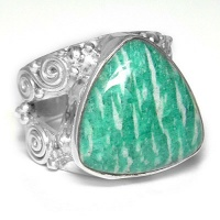 Amazonite Trillion Ring