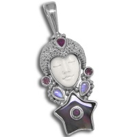 Goddess Pendant with Black Mother of Pearl Star, Ruby, Pink Tourmaline & Rainbow Moonstone