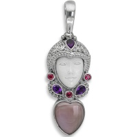 Goddess Pendant Pink Mother of Pearl Heart, Amethyst & Topaz