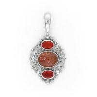 Sunstone and Mexican Fire Opal Pendant