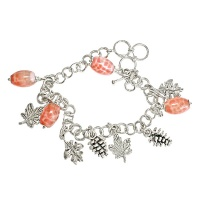 Fire Agate with Leaves Charm Bracelet