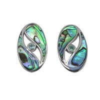 Paua Shell and Apatite Post Earrings