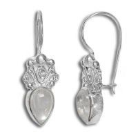 Rainbow Moonstone Pear Latch Back Earrings