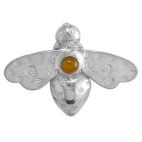 Sterling Silver Bee Pin Pendant with Amber