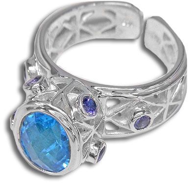 Sterling Pacific Blue Crystal Quartz Ring
