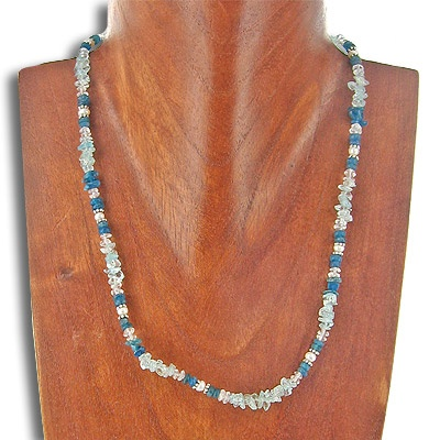 Blue Topaz, Apatite and Crystal Beaded Necklace