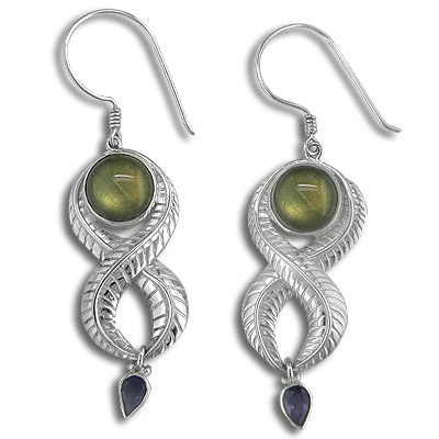 Labradorite and Iolite Silver  Earrings