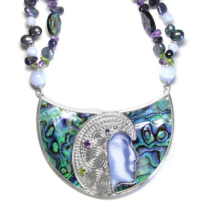 Paua Shell Fiber Optic Goddess Necklace