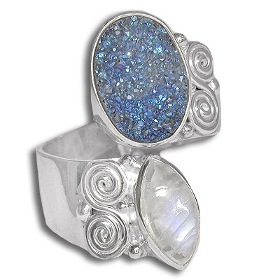 Sterling Rainbow Moonstone and Druzy Ring