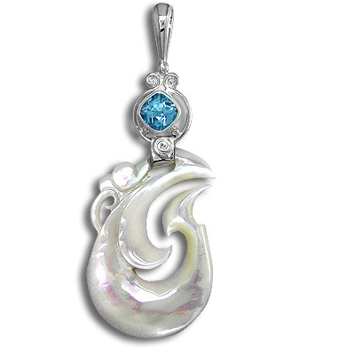 Mother of Pearl and Blue Topaz Silver Pendant