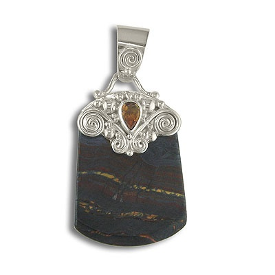 Tiger Iron Pendant with Citrine