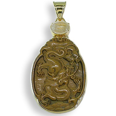 Carved Dragon Tiger Eye Vermeil Pendant