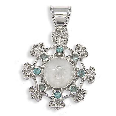 Mother of Pearl Goddess Apatite Topaz pendant