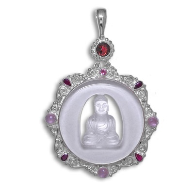 Crystal Buddha Sterling Silver Pendant