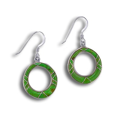 Gaspeite Inlay Hoop Dangle Earrings