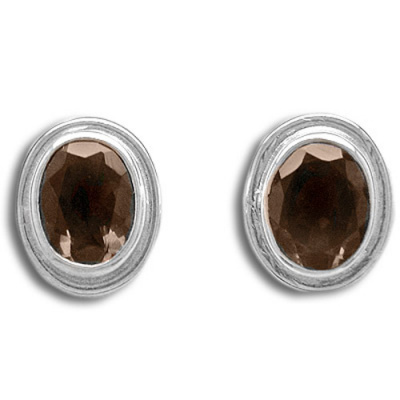 Sterling Smoky Quartz Oval Post Earrings
