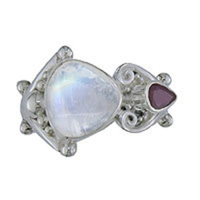 Rainbow Moonstone Adjustable Ring with Ruby