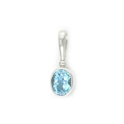 Sterling Silver Swiss Blue Topaz Oval Pendant