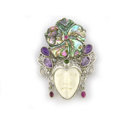Goddess Pin-Pendant with Abalone Shell Flower, Green and Pink Tourmaline and Amethyst
