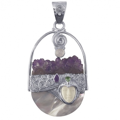 Goddess Pendant with Amethyst, Moonstone and Peridot