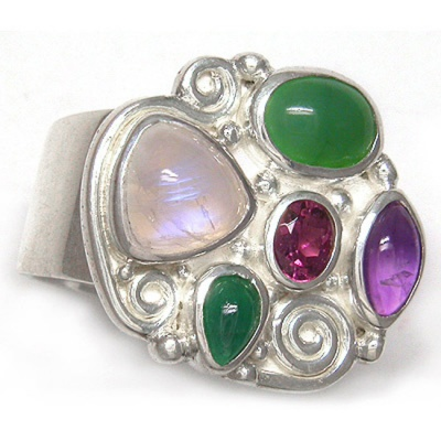Rainbow Moonstone, Chrysoprase, Amethyst, Pink Tourmaline and Emerald Ring