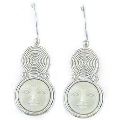 Sterling Silver Swirl and Goddess Earrings