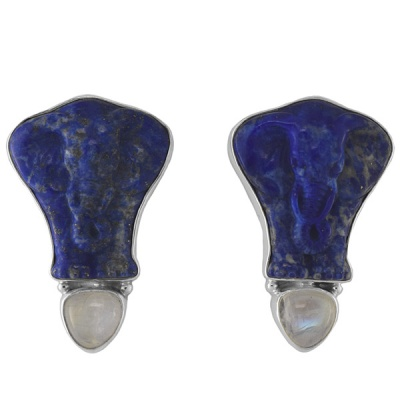 Lapis Elephant Earrings with Rainbow Moonstone