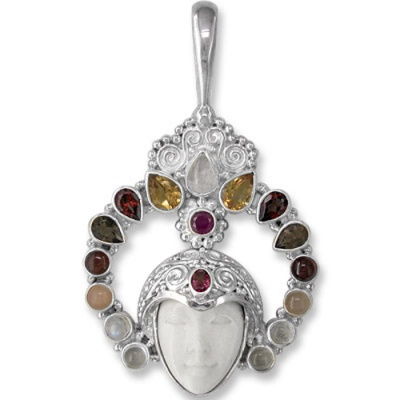Bone Face, Rainbow Moonstone, Citrine, Garnet & Smoky Quartz Pendant