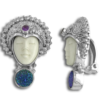 Goddess Clip On Earrings with Caribbean Druzy and Amethyst