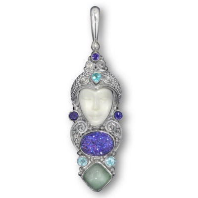 Goddess Pendant with Caribbean Druzy, Aquamarine, Apatite and Iolite