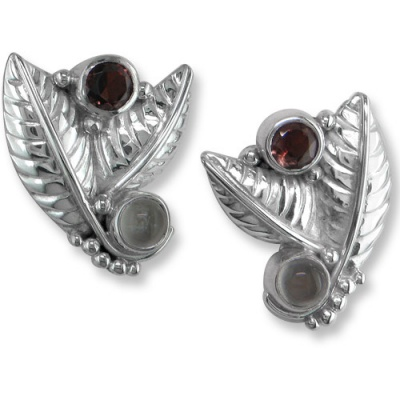 Sterling Silver Leaf Earrings with Garnet and Moonstone