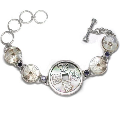Mother of Pearl Carved Chinese Coin Bracelet with Iolite