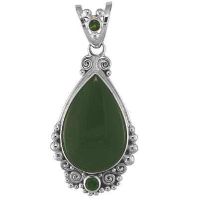 Jade Pendant with Chrome Diopside