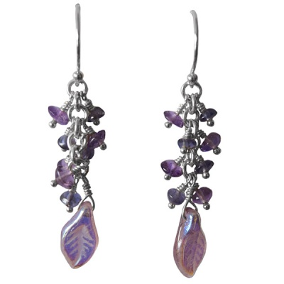 Dichroic Glass Leaf Earrings with Amethyst & Iolite Beads