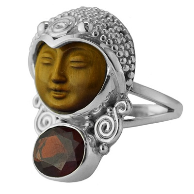 Tiger Eye Carved Goddess Ring with Garnet