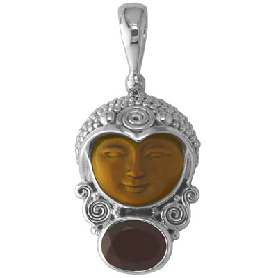 Tiger Eye Carved Goddess Pendant with Garnet